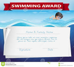 Prize Certificate Template Swimming Award Certificate Template Stock Illustration Image