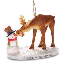 buy moose with snowman ornament personalized ornament