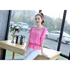 elastic waist blouse chiffon blouse elastic waist lace embroidered fashion