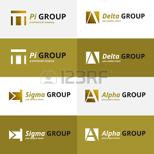 minimalistic negative space greek letters logo collection royalty