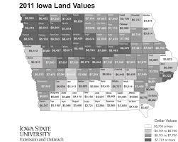 Iowa State University Map Iowa Land Value Survey Results Iowa State University Extension