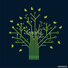 electronic green nerve neuron tree circuit board design vector