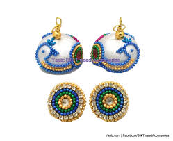 peacock design earrings yaalz peacock design jumka in white color
