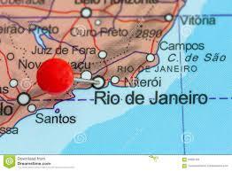 Map Of Rio De Janeiro Pin On A Map Of Rio De Janeiro Stock Photo Image 55995194