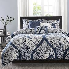 madison park marcella indigo cotton printed 6 piece duvet cover