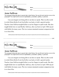 every day edit anne sullivan 7th 8th grade worksheet lesson