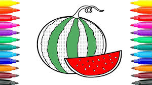 how to draw watermelon coloring pages fruit how to paint