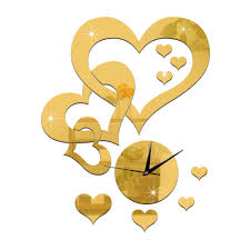romantic wedding decoration mirror clock diy decal wall