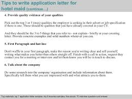 hotel maid application letter