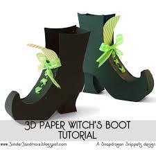 halloween witch crafts 3d paper witch u0027s boot tutorial bjl treats pinterest 3d