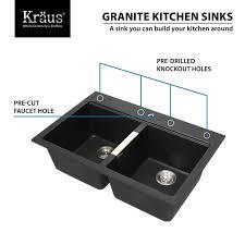 undermount kitchen sink with faucet holes kraus 33 inch dual mount 50 50 bowl granite kitchen sink w