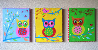 wise owls hand painted acrylic painting on canvas for kids