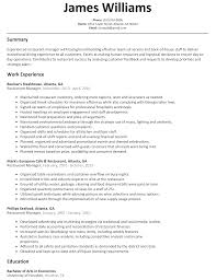 sample of resume with experience restaurant manager resume sample resumelift com