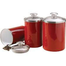 Red Kitchen Set - tramontina 3 piece covered porcelain canister set red decor