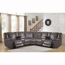 Power Sectional Sofa Tahoe Premium Top Grain Grey Leather Power Reclining Sectional