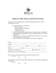 biola university application fee waiver fill online printable
