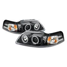 99 04 mustang kit projector led halo headlight kit black 99 04