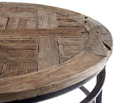 circle wood coffee table parquet reclaimed wood round coffee table pottery barn