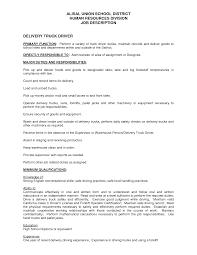 Job Description For Truck Driver For Resume by Resume Truck Driver Resume