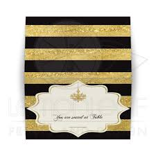 folded place card or card faux gold foil black ivory