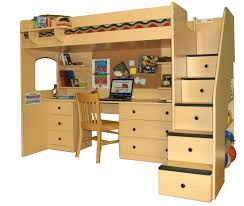 Solid Wood Bunk Beds With Trundle by Bedroom Cream Solid Wood Loft Bunk Bed With Study Desk Having