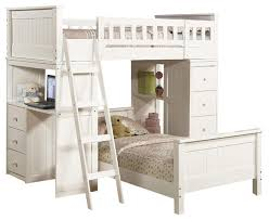 Safe Functional White Youth Twin Storage Loft Bunk Bed Drawers - Study bunk bed