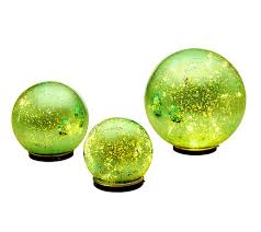 Glass Globes For Garden Set Of 3 Lit Indoor Outdoor Mercury Glass Spheres W Timer By