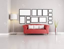 Living Room Red Sofa by Red Sofa In Modern Living Room With Empty Frames Stock Photo