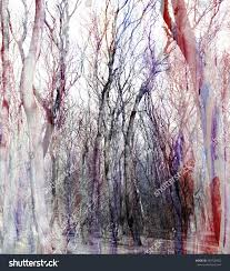 abstract watercolor background fantastic trees stock