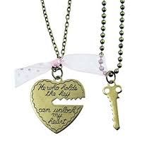 heart necklace with key images Key to my heart heart and key brass couple 39 s jpg