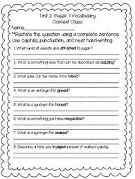 hill reading wonders context clues worksheets unit 2 4th grade