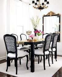 Gold Leaf Dining Chair With Black Dining Table Transitional - Black and white dining table with chairs