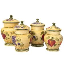 canister set tuscan hand painted ceramic kitchen storage fruit
