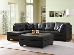 living room leather dar black with tufted microfiber sectional