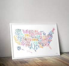 United States Map Poster by Usa Us United States Map Art Poster America Calligraphy Ink