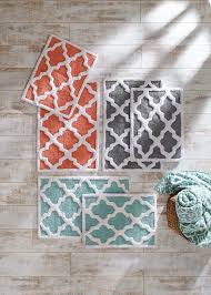 Coral Bathroom Rug Treat Your With Kindness Trellis Bath Mats In Blue Coral