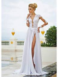 chiffon wedding dress sleeve high slit lace chiffon wedding dresses bridal gowns 99603326