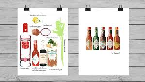 cocktail recipes poster art styled bloody mary recipe art or canvas print