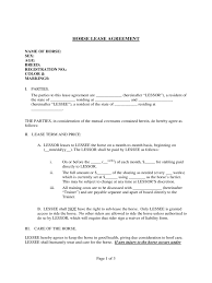 horse lease agreement template free resume