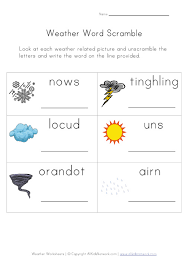 weather worksheet word scramble weather lesson plans