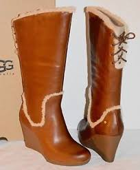 s ugg australia emilie boots 295 ugg australia emilie leather chestnut brown wedge