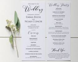 wedding program templates wedding programs etsy