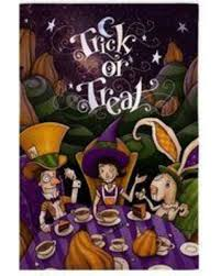 deal alert haunted tea party halloween garden flag