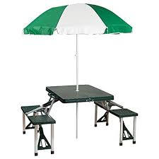 amazon com stansport picnic table and umbrella combo pack green