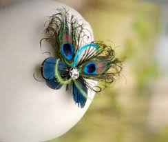 mini peacock feather butterfly fascinator comb pin paon wedding