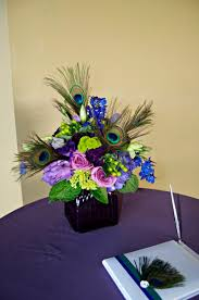 Peacock Feather Centerpieces by Peacock Floral Arrangements For Weddings With Flowers In The