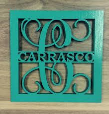 initial home decor unfinished wood framed monogram with name door hanger laser cutout w