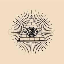 all seeing eye freemasonry pyramid vector illustration engraving