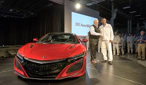 first acura rick hendrick takes delivery of first 2017 acura nsx