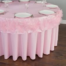 pink round table covers in round ruffled organza table cover pink